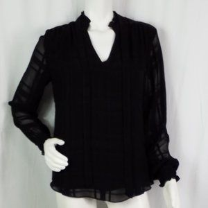 WHBM Top Vneck Striped Sheer Sleeves Lined Sz S